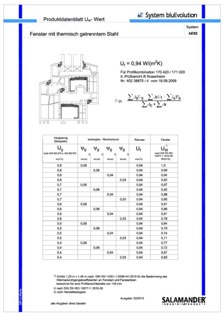 thumbnail of Bluevolution 92 armatura termica ferestre coeficienti termici pentru ansamblu de tamplarie